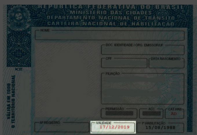 Data de validade da CNH